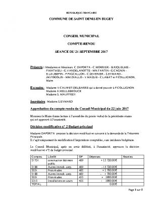 Compte rendu du conseil du 21 septembre 2017