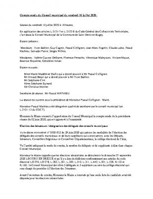 compte rendu conseil municipal 10 juillet 2020