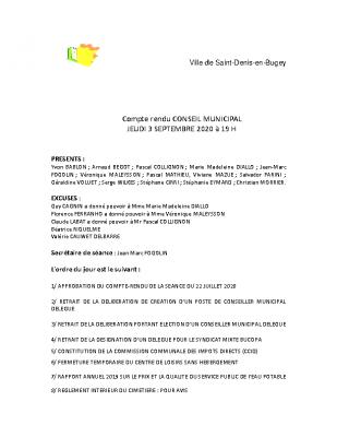 CR du conseil municipal 03 septembre 2020