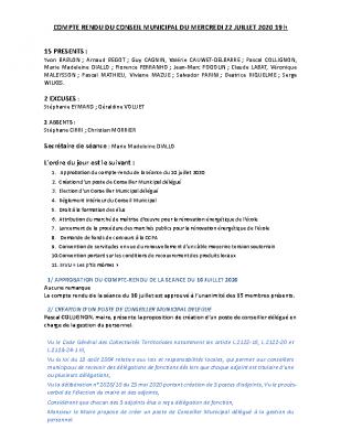 CR du conseil municipal 22 juillet 2020