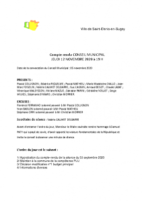 Compte rendu CM 12 novembre 2020