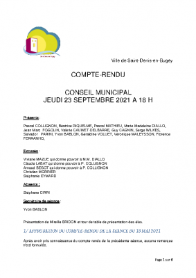 COMPTE RENDU CM 23 septembre 2021